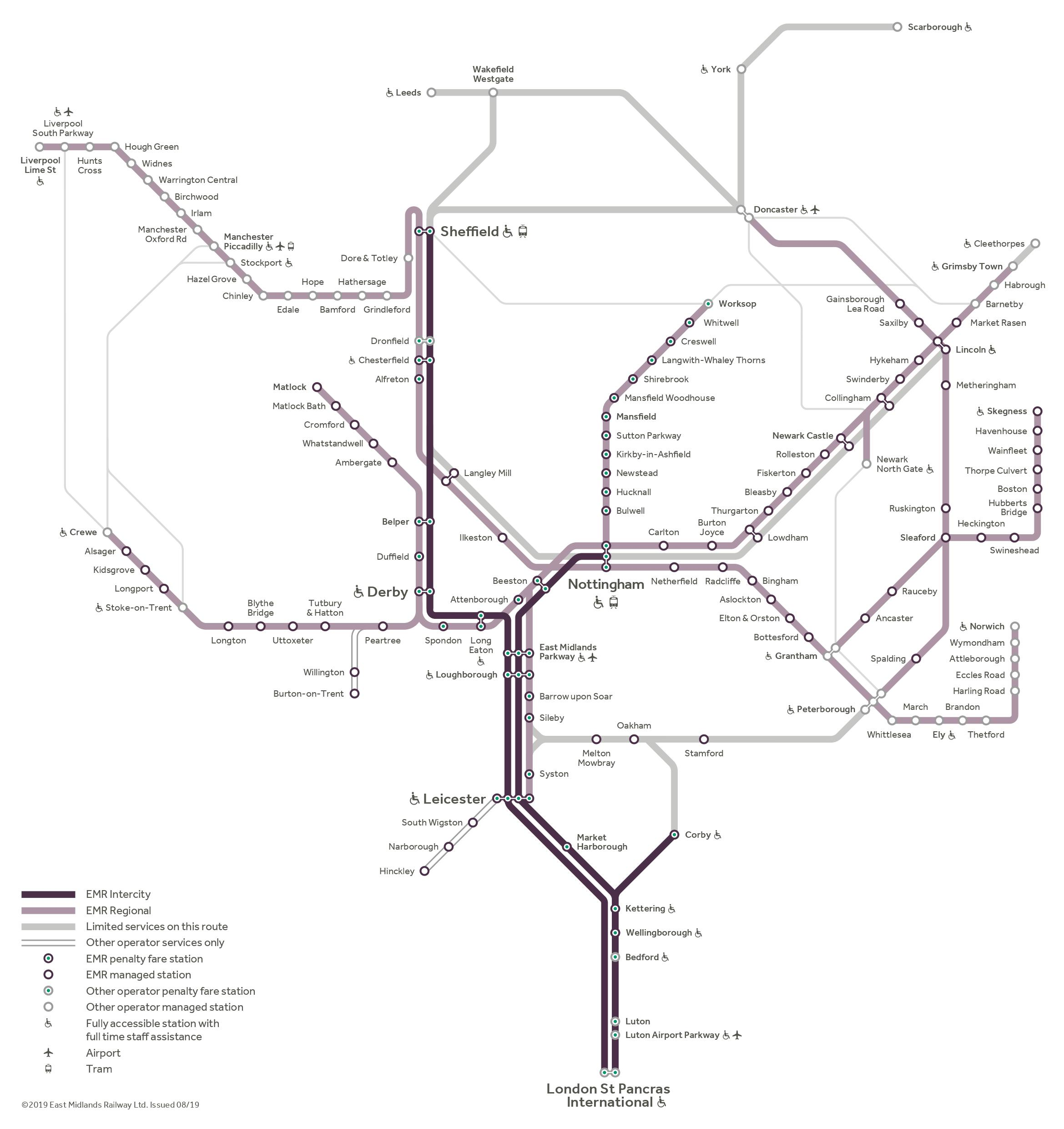 Train route map of East Midlands   EMR   East Midlands Railway