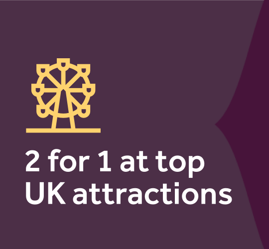 2 for 1 at top UK attractions