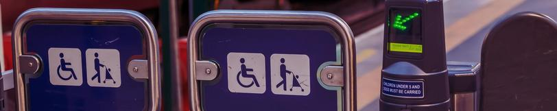 Closeup of accessible ticket gates