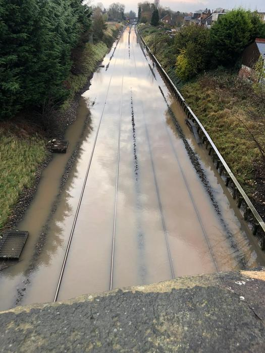 An image of the water covering tracks in the Draycott area